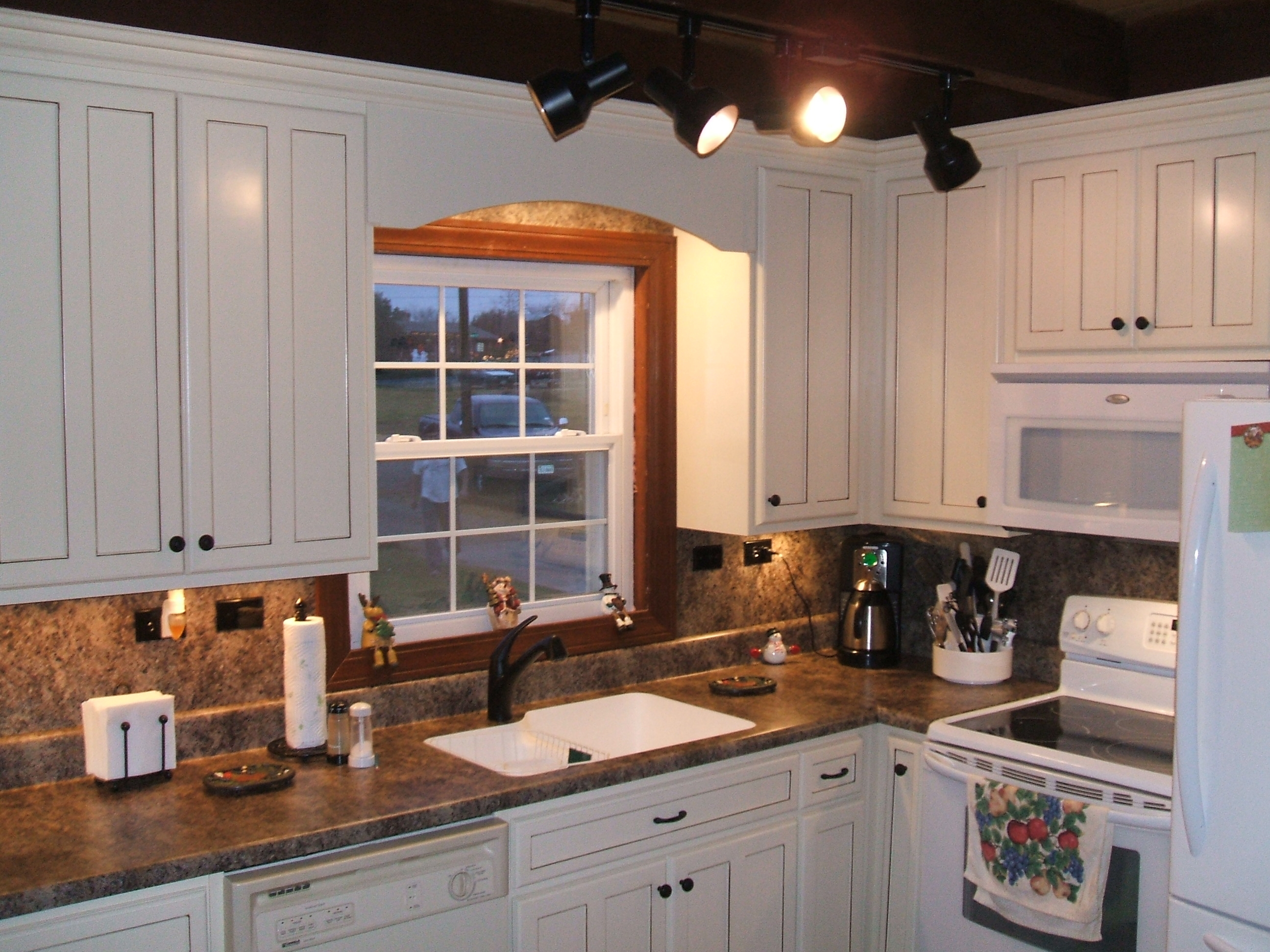 Kitchen Cabinets White And Brown