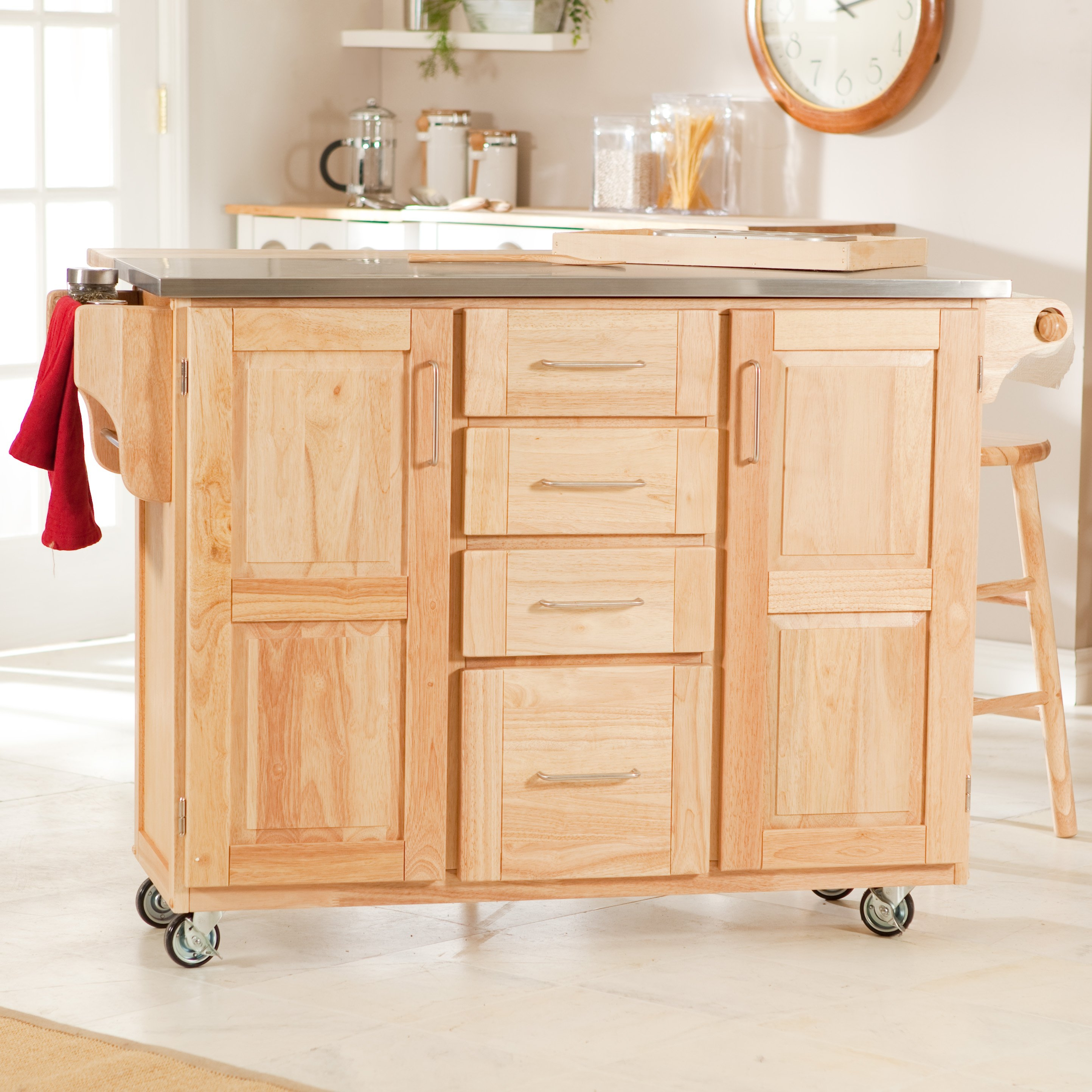 Kitchen Cart With Drawer And Cabinet