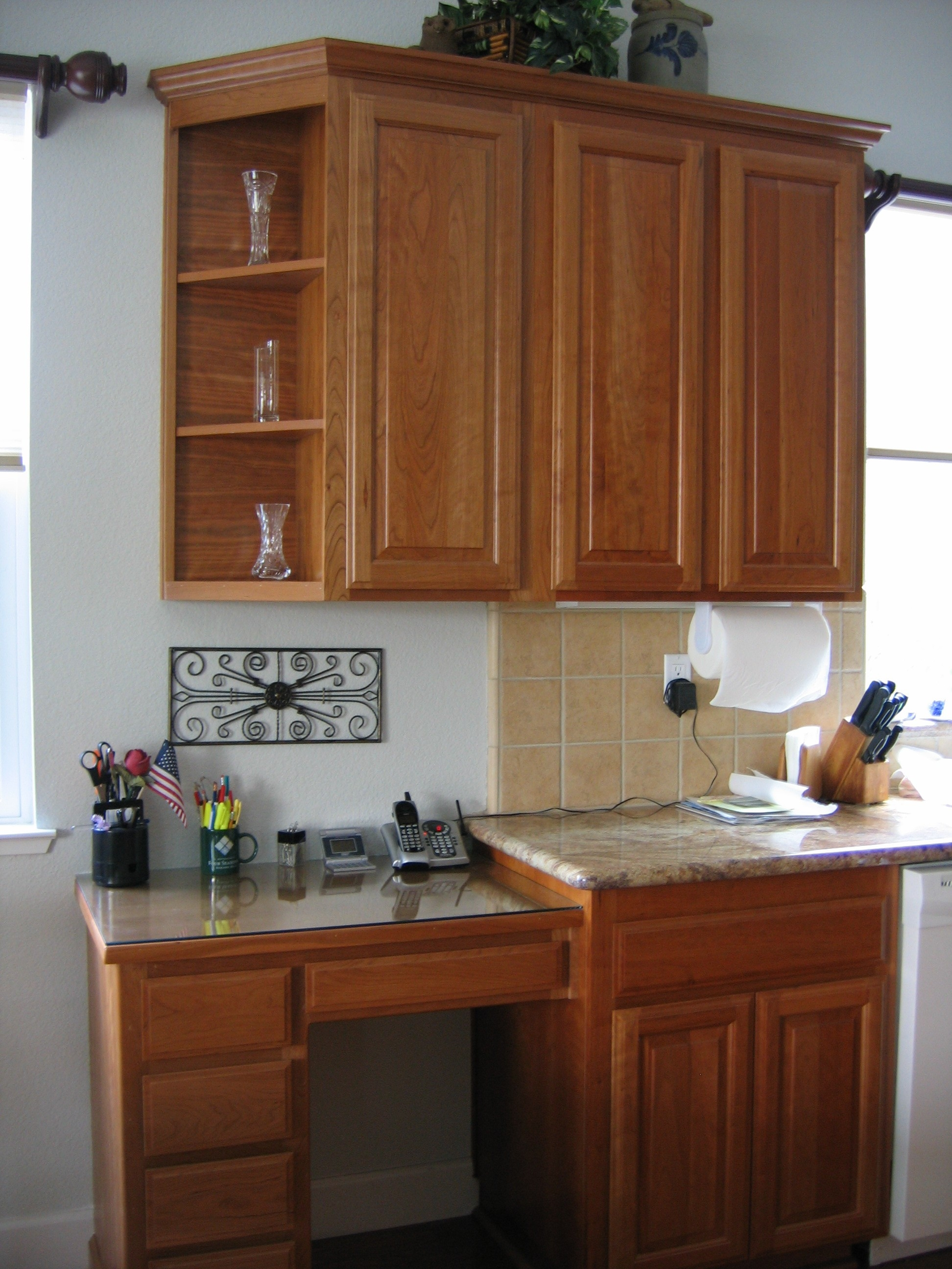 Kitchen Desk Cabinets Design