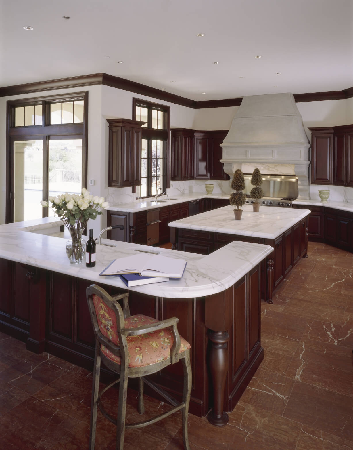 Kitchen Wood Cabinets White Countertops