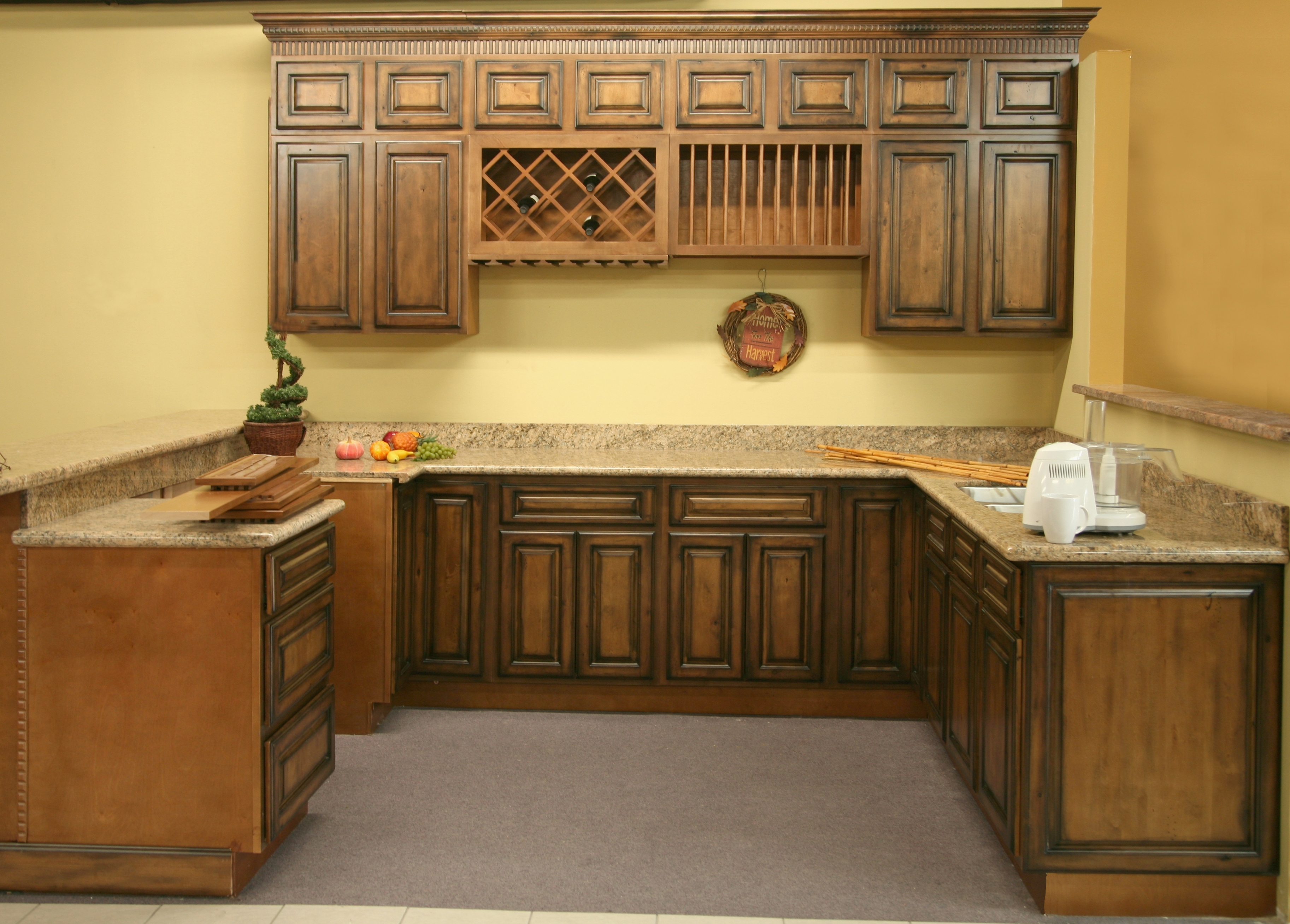 Pecan Stained Kitchen Cabinets