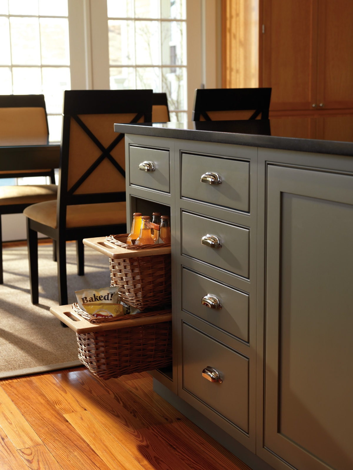Pull Out Rattan Baskets Kitchen Cabinets