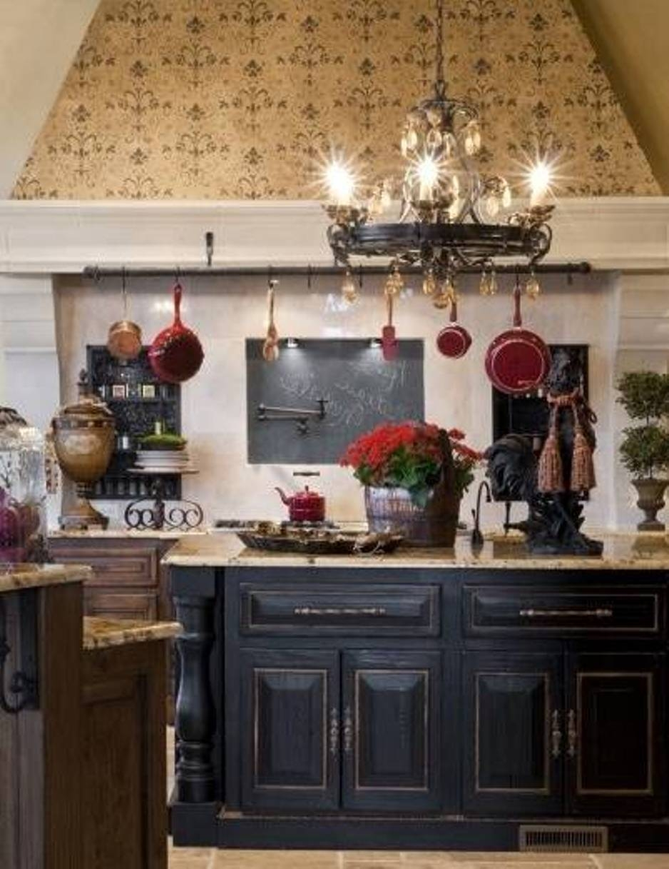 Red And Black Distressed Kitchen Cabinets
