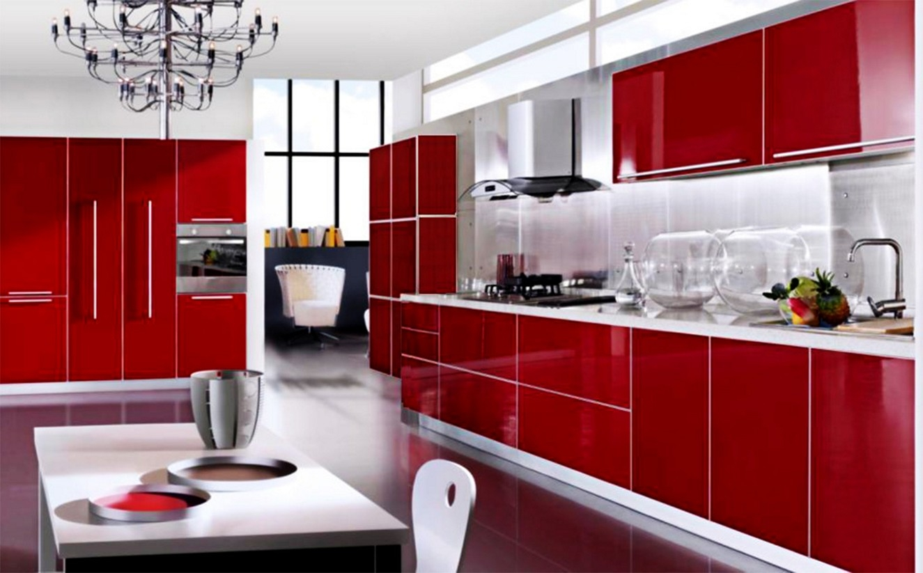 Red Kitchen Cabinets Images