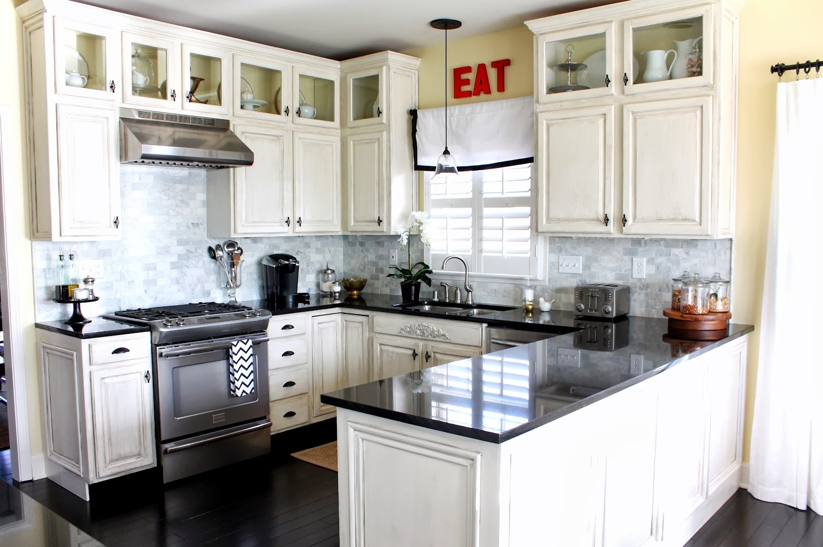 Permalink to Small Kitchen White Cabinets Black Countertop