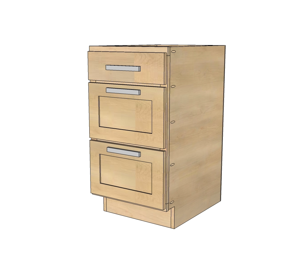Three Drawer Kitchen Base Cabinets