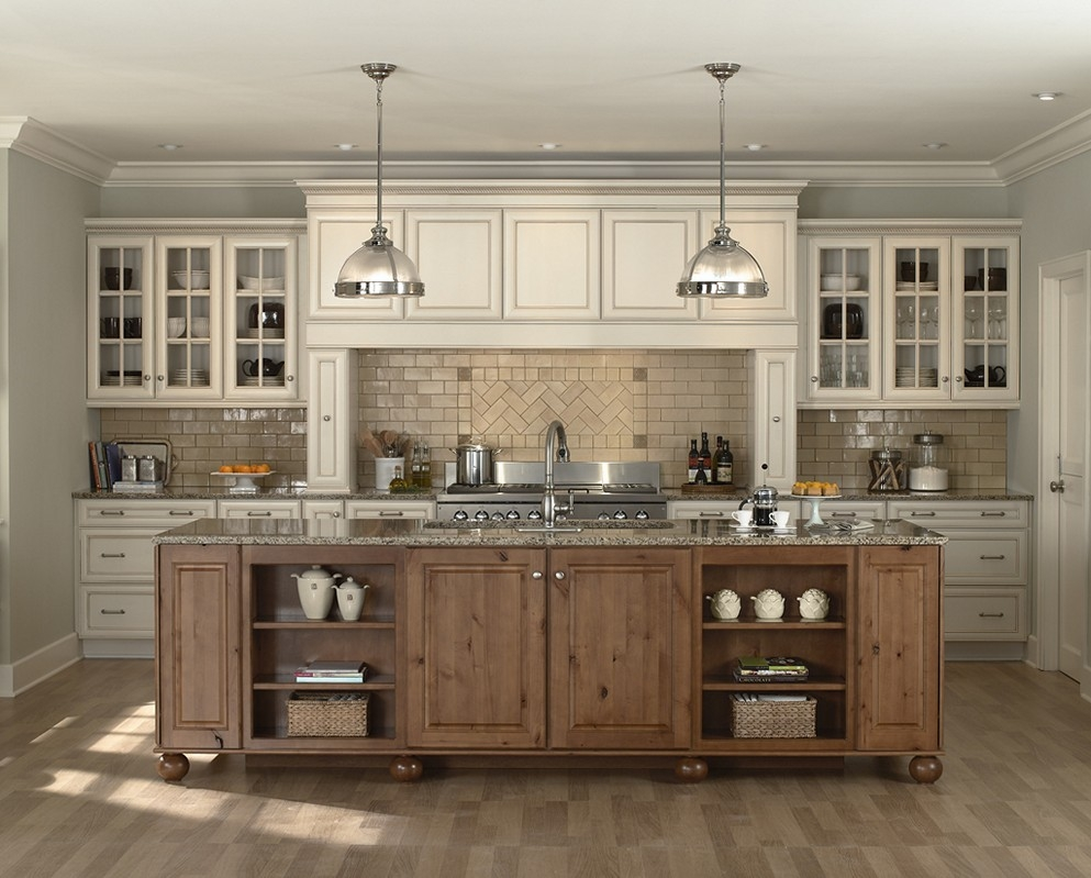 White Kitchen Cabinets With Dark Island