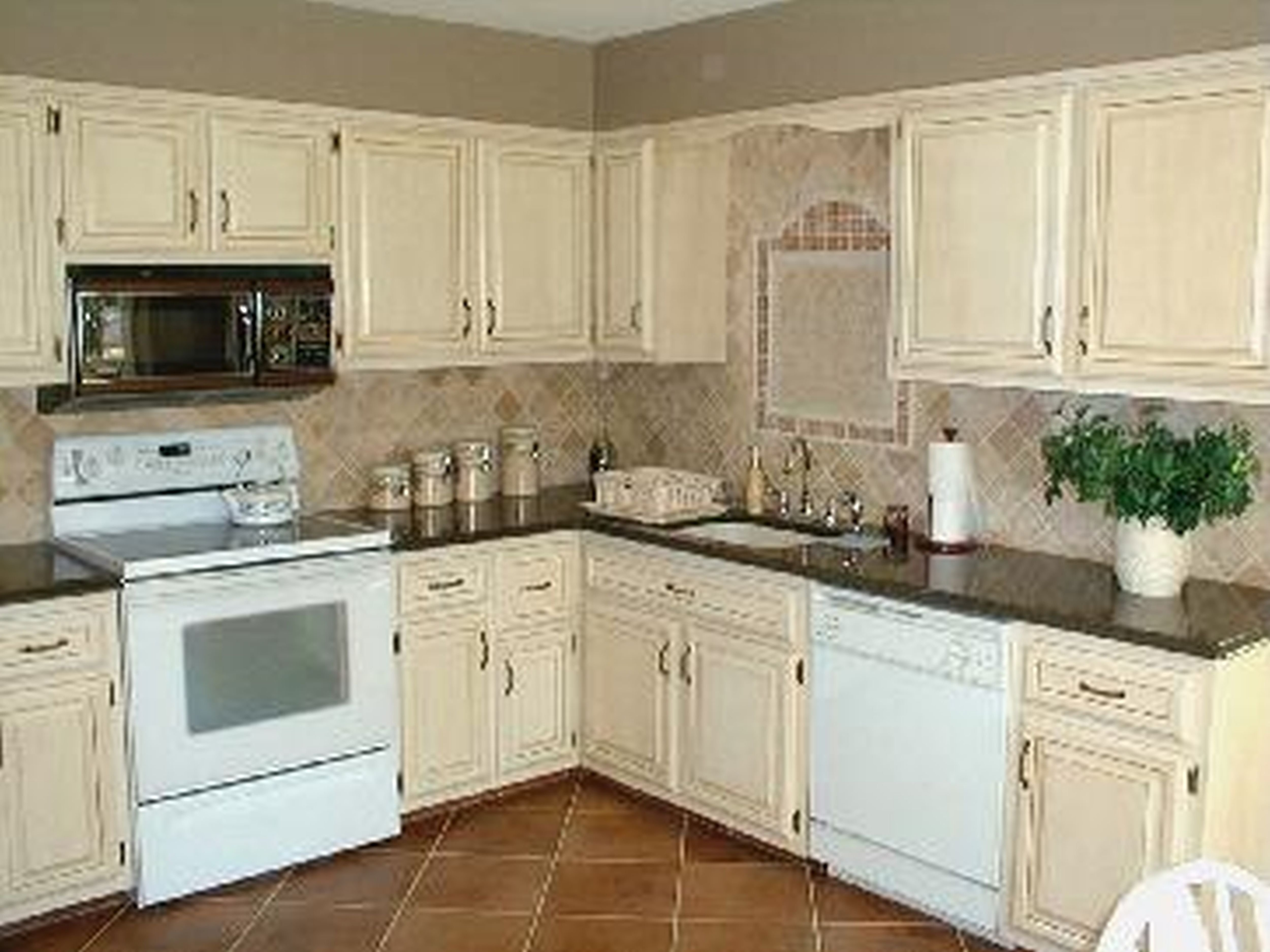 White Stained Wood Kitchen Cabinets