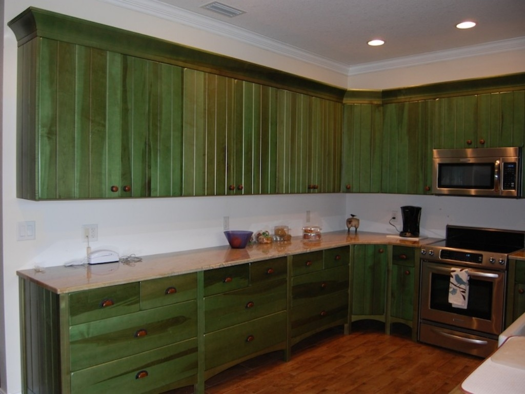 Aged Green Kitchen Cabinets