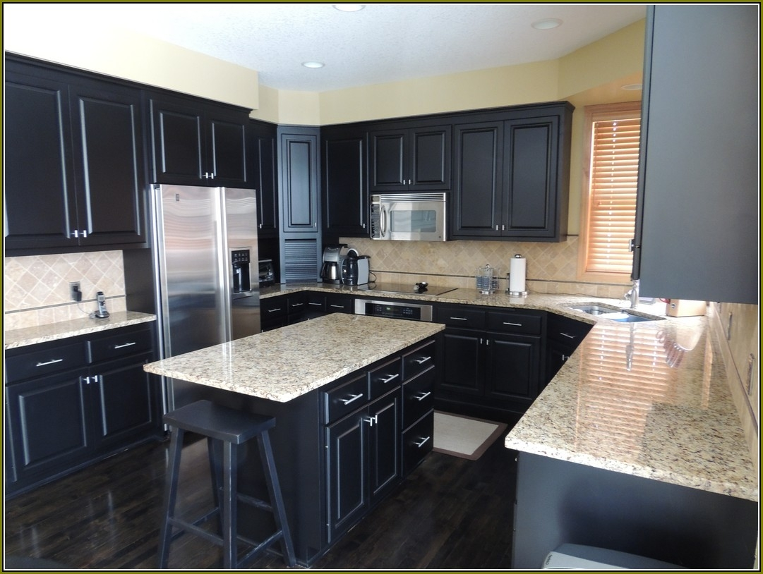 Permalink to Black Kitchen Cabinets Wood Floors