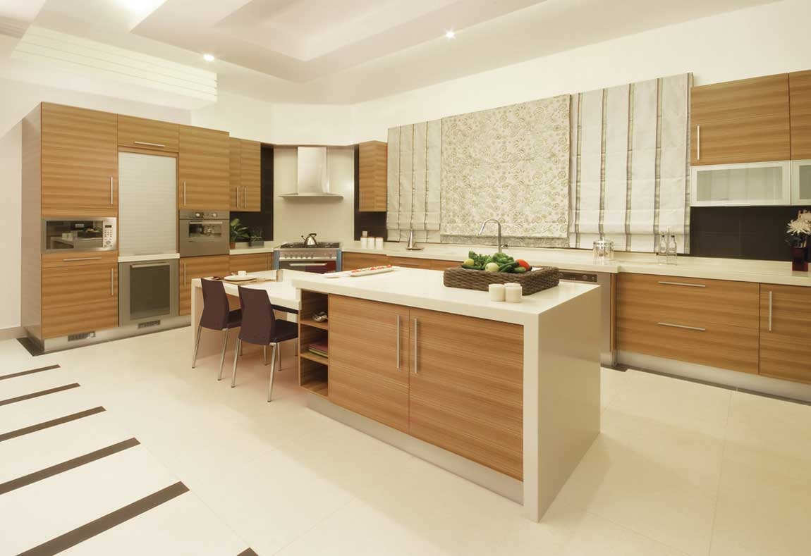 Contemporary Wood Veneer Kitchen Cabinets
