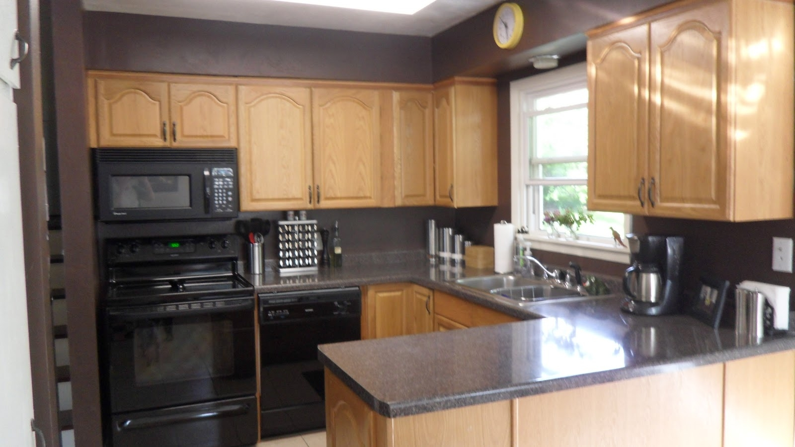 Permalink to Gray And White Kitchen With Oak Cabinets