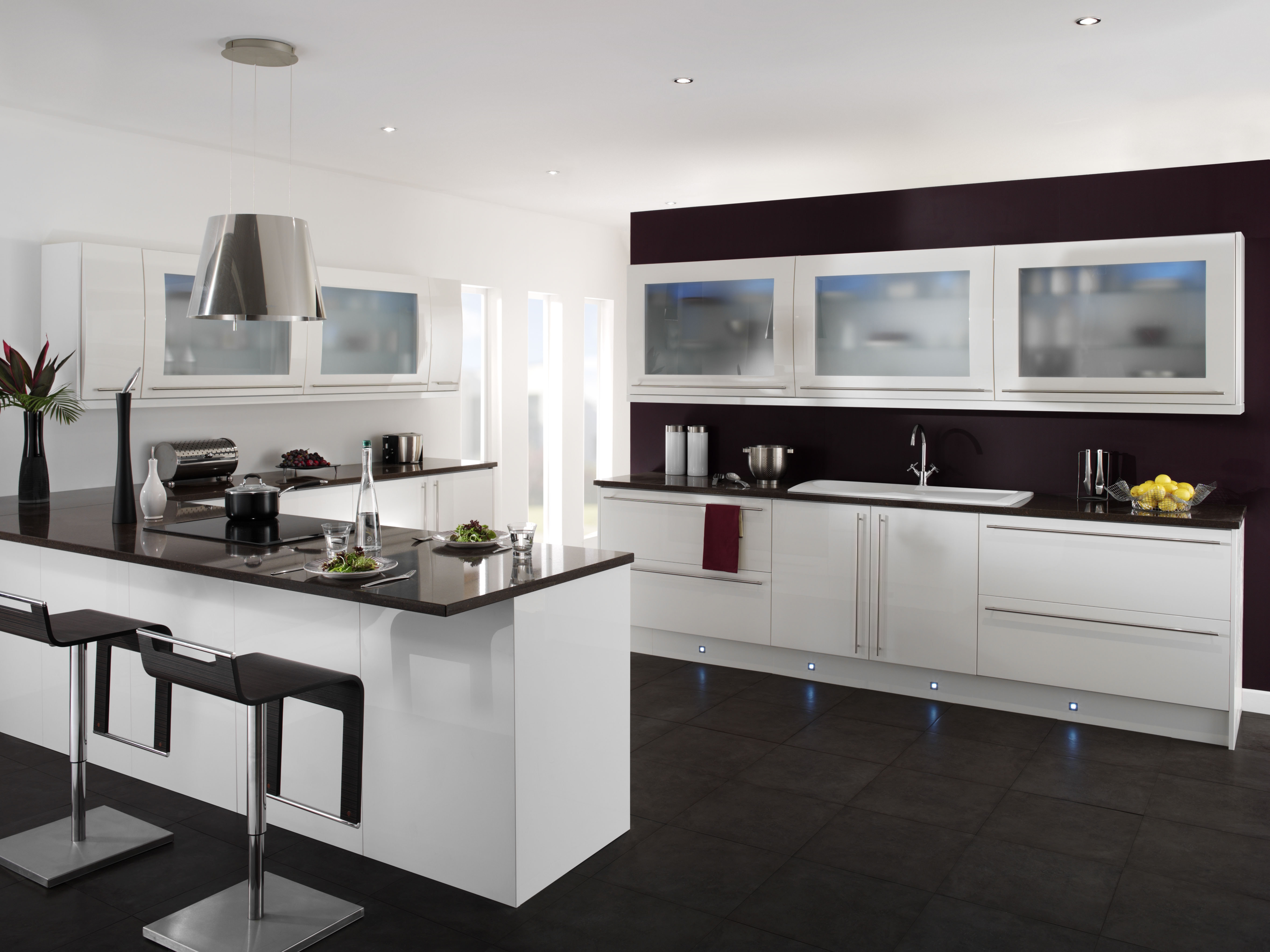 Modern White Kitchen Cabinets With Black Countertops