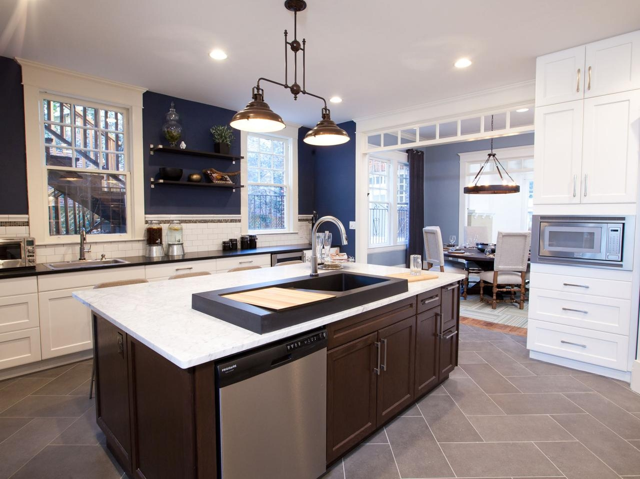 Permalink to Navy Blue Kitchen White Cabinets