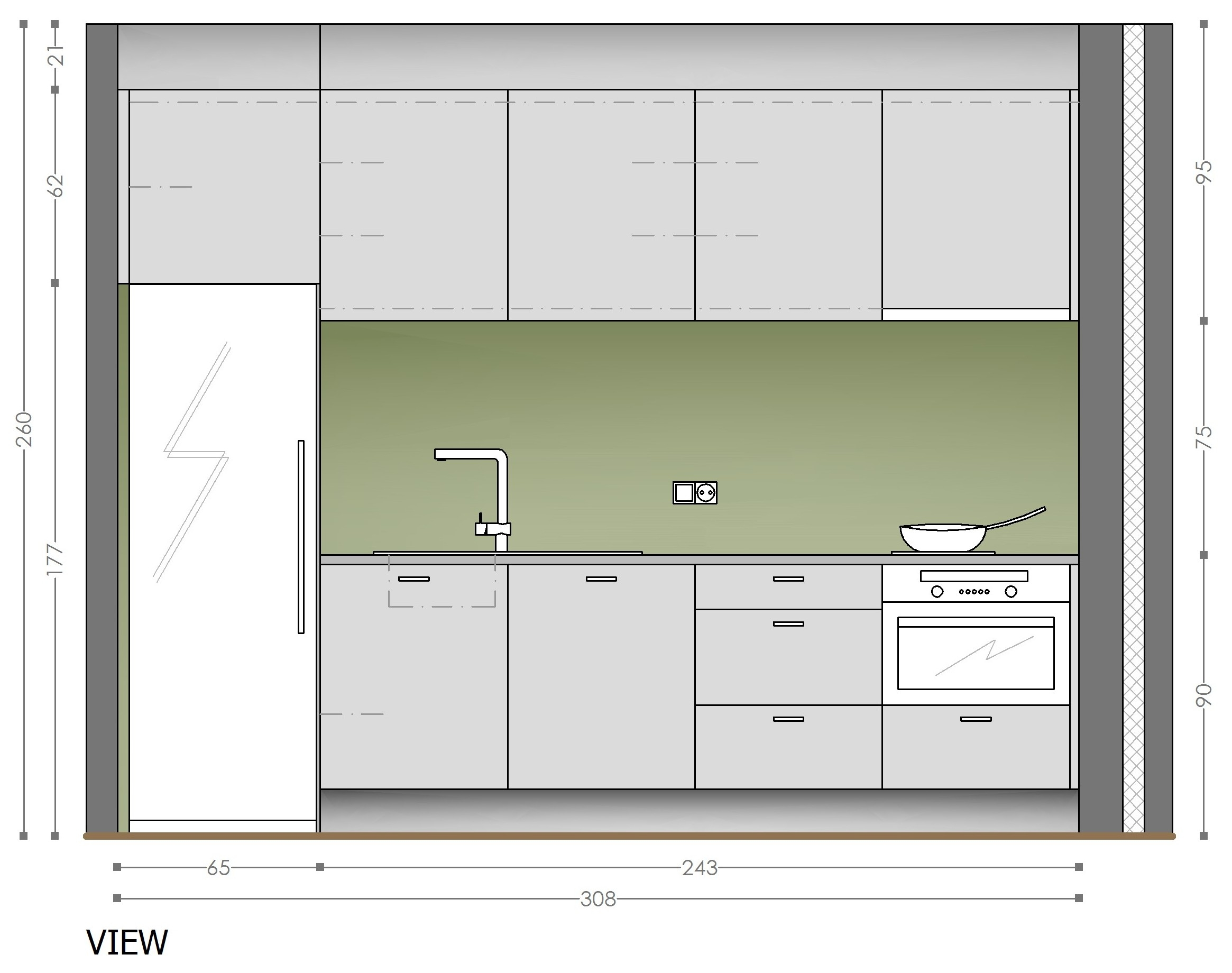 One Wall Kitchen Cabinets