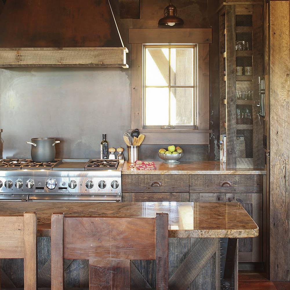 Reclaimed Wood Kitchen Cabinets Photo