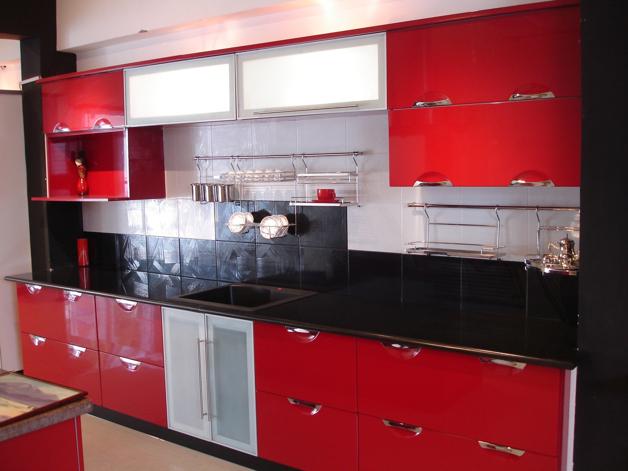 Red Kitchen Cabinets Black Countertops Kitchen Cabinet