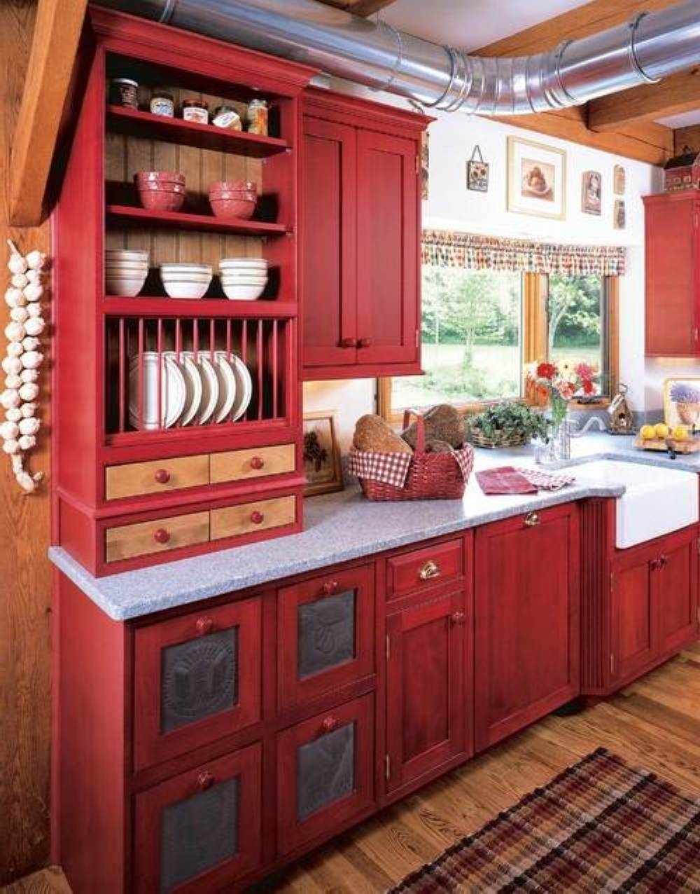 Vintage Red Kitchen Cabinets | Kitchen Cabinet