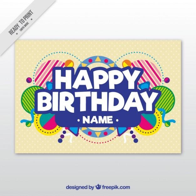 Birthday Card Vector Great Happy Print