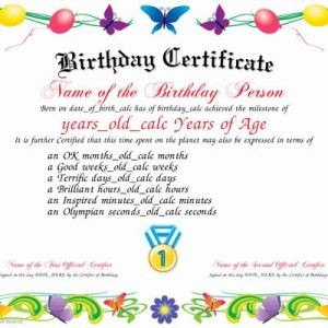 image about Printable Birthday Certificates referred to as Birthday Certificates for Learners Luxurious Template for