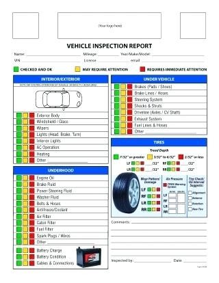 Car Rental Checklist Form Template New Excel Vehicle Inspection