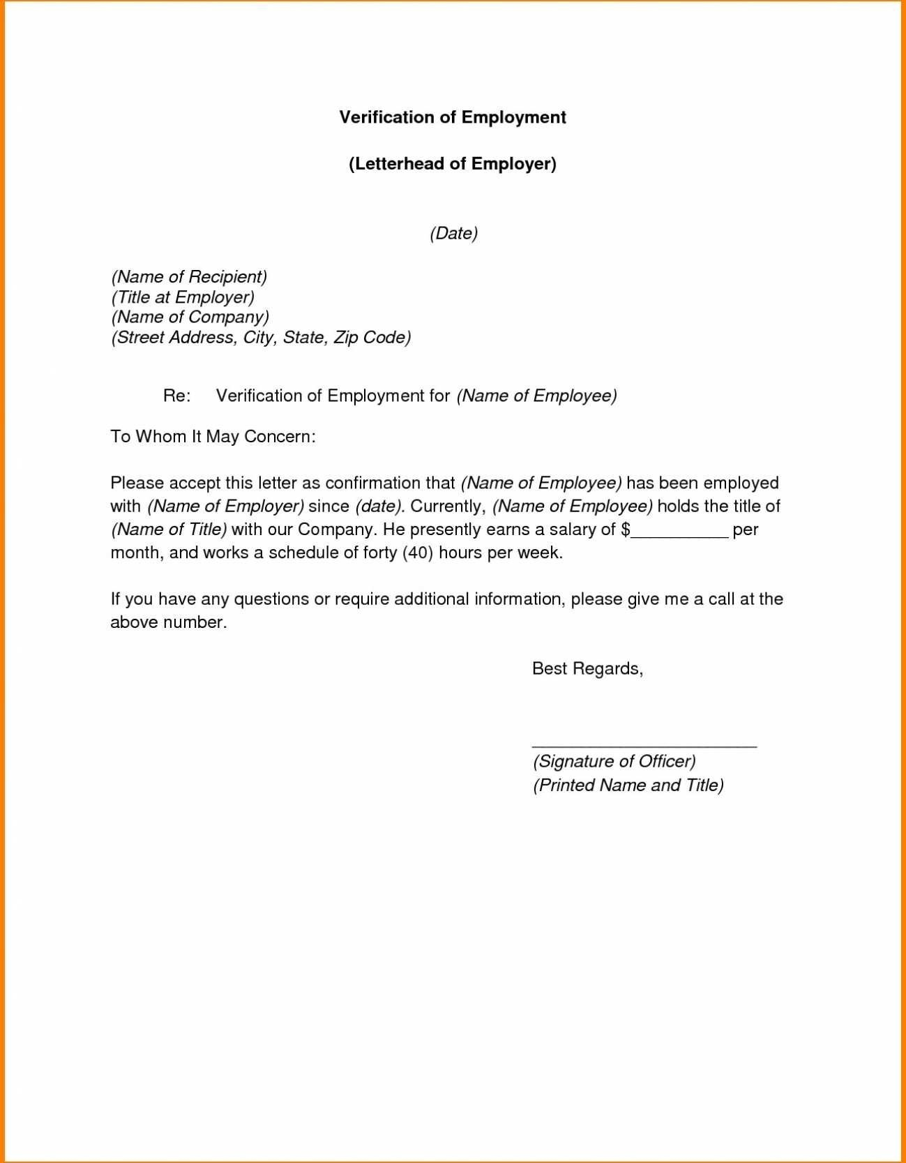 Certificate Of Employment Request Template New Verification Letter To Whom It May Concern