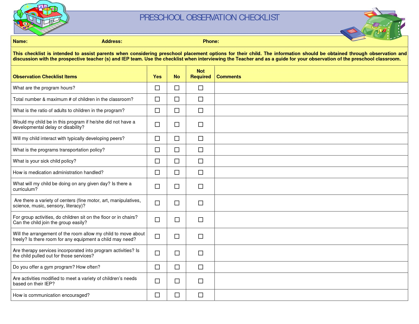 Checklist Observation Example Child Care Unique Preschool