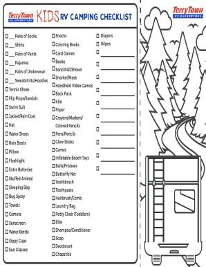 photo regarding Rv Camping Checklist Printable titled Rv Tenting Listing Excel Desirable Printable Rv Tenting