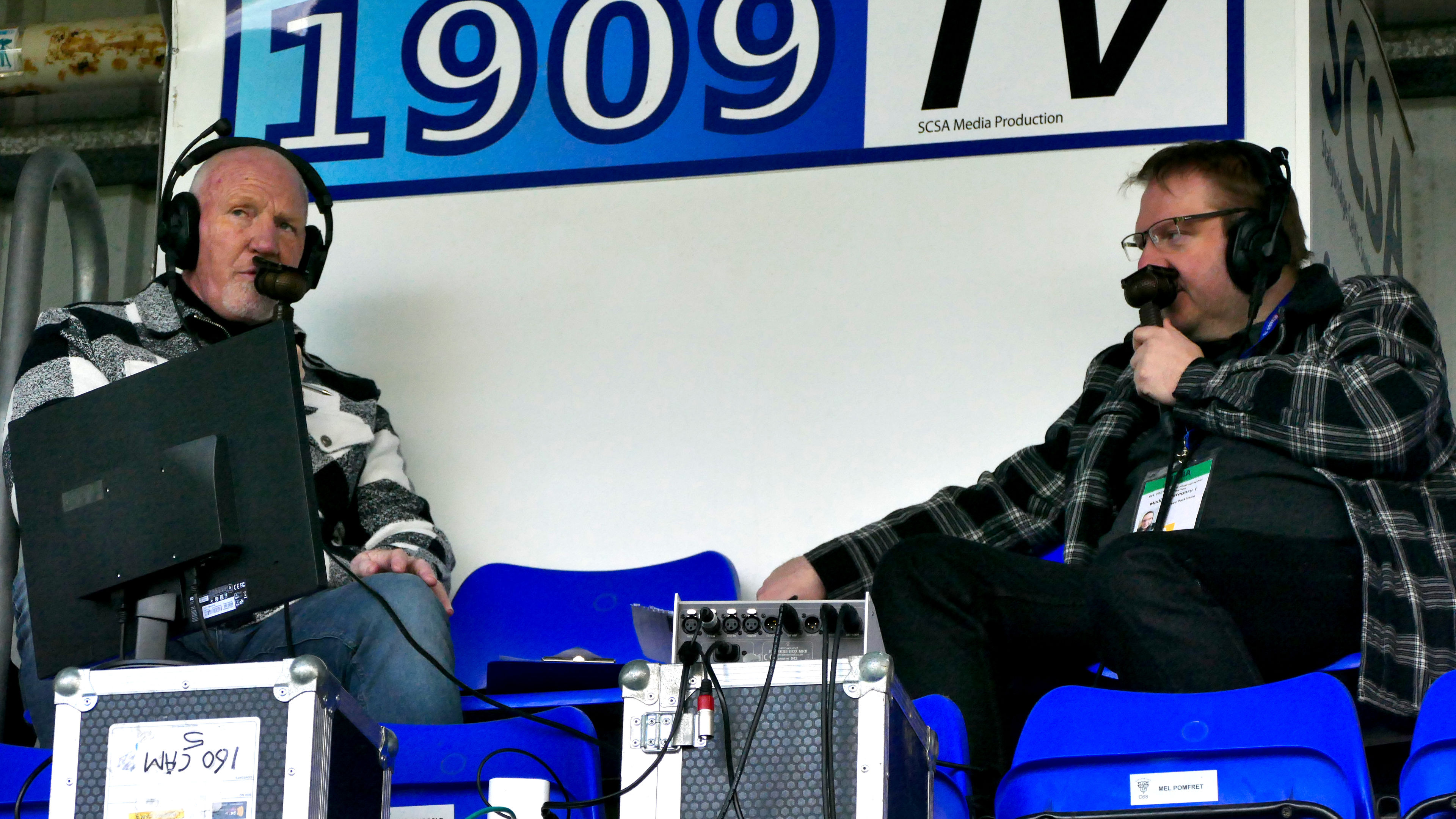 John Fieldhouse (left) on Our League commentary duty at Bower Fold on Good Friday