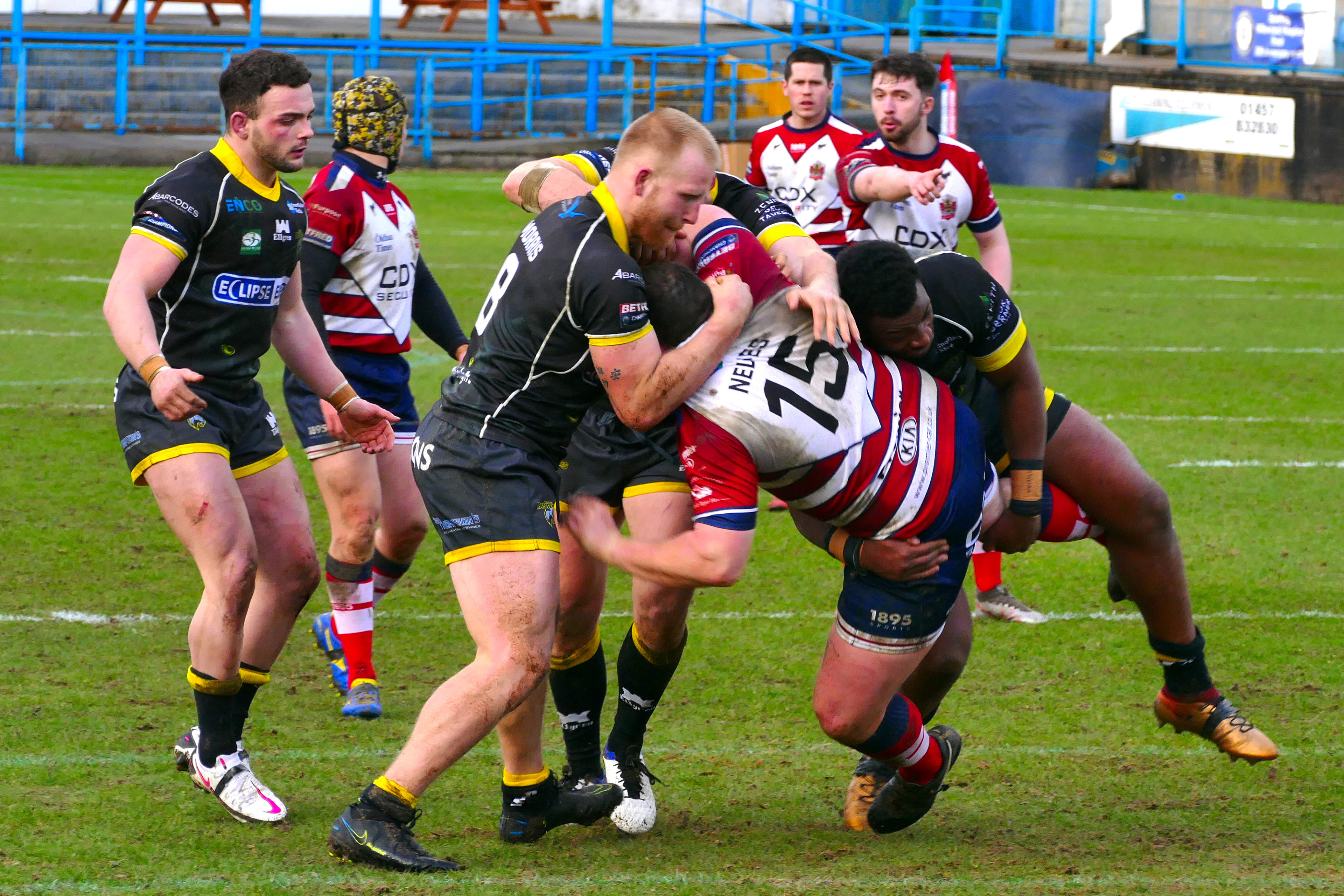 Luke Nelmes in the thick of the action