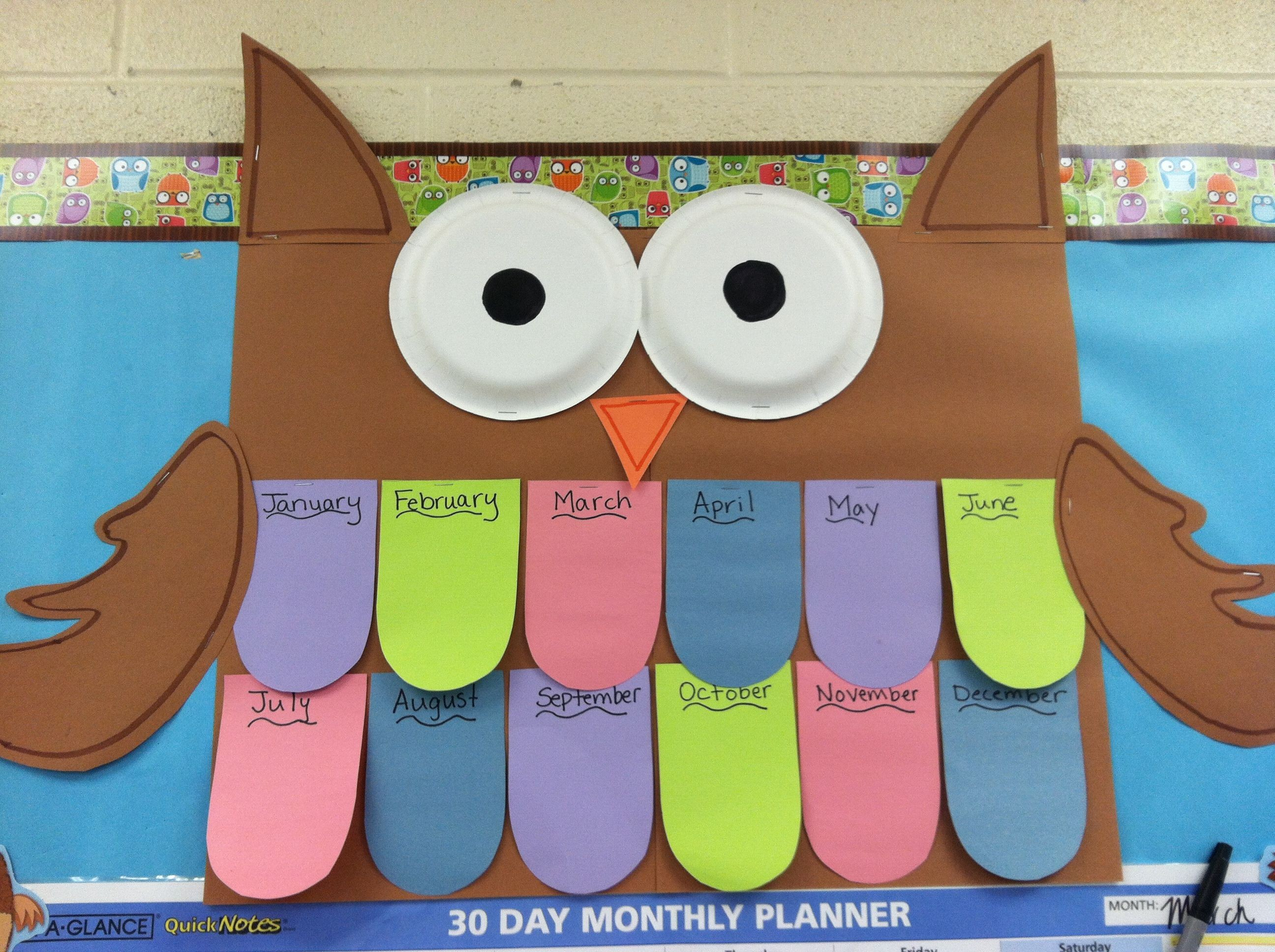 Birthday Charts For Classroom Best Of Owl Chart 60