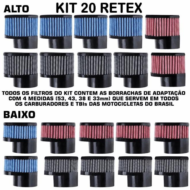 Kit Filtros Retex com 20 unidades