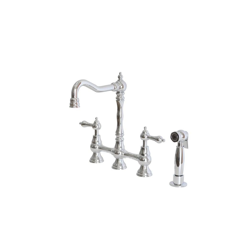 Ideas, belle foret 2 handle bridge kitchen faucet with side sprayer and within dimensions 1000 x 1000  .