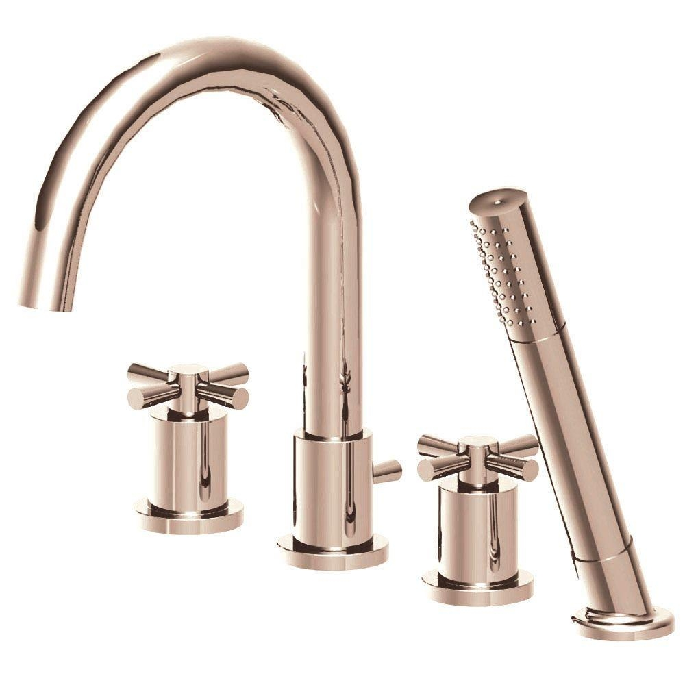 Ideas, belle foret modern cross 2 handle deck mount roman tub faucet with inside sizing 1000 x 1000  .