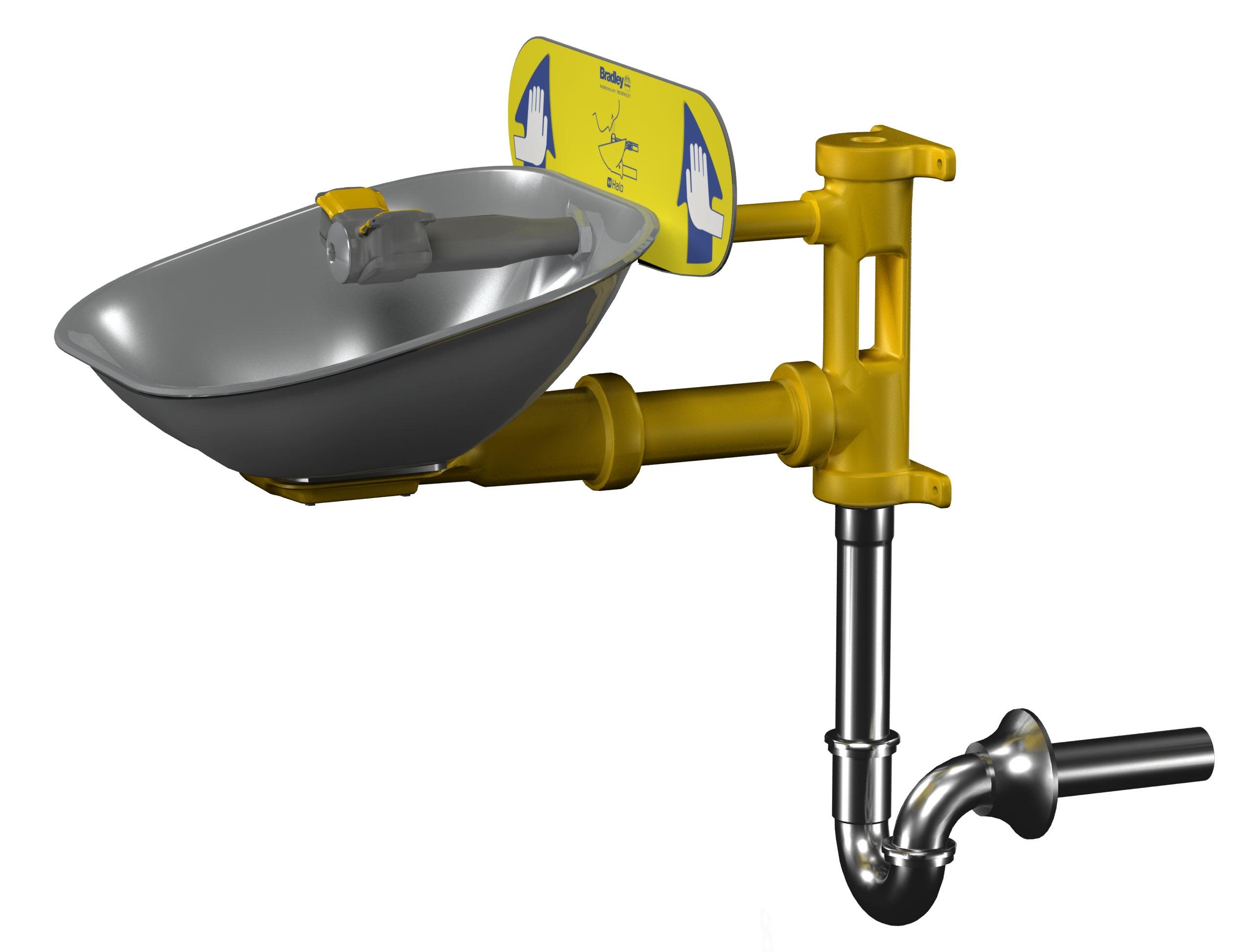 Ideas, bradley faucet mount eyewash station bradley faucet mount eyewash station eyewash stainless steel bowl tailpiece p trap bradley 2552 x 1944  .