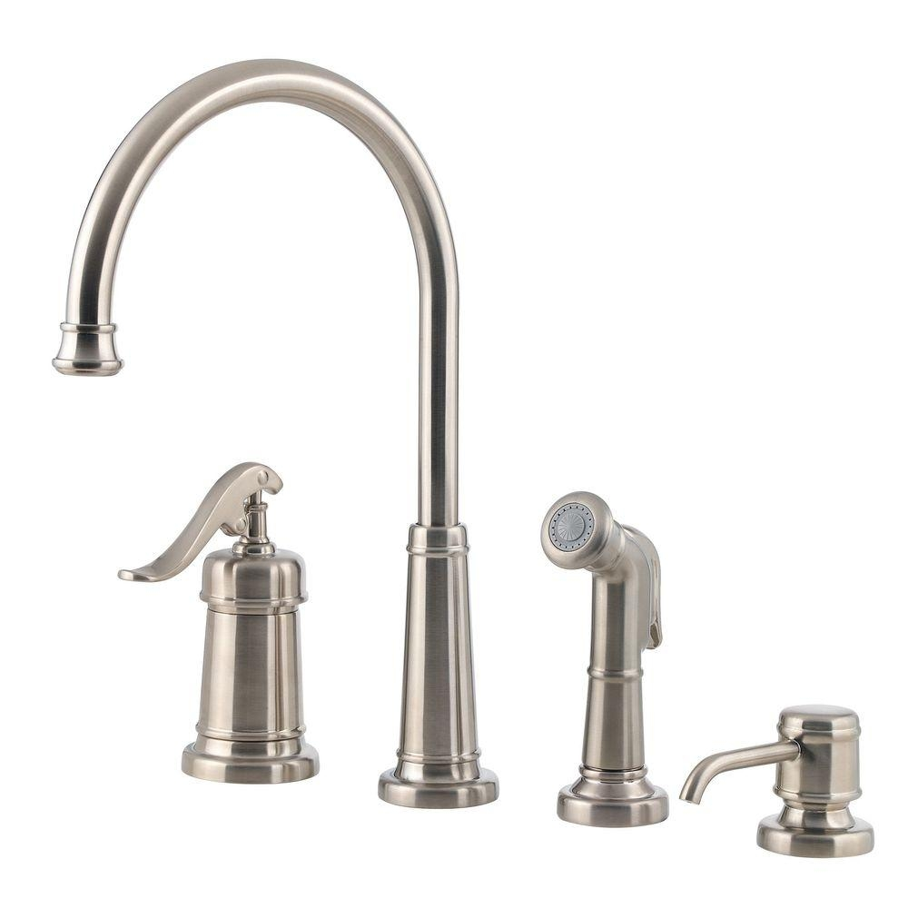 Ideas, brushed nickel single handle kitchen faucet with sprayer brushed nickel single handle kitchen faucet with sprayer pfister ashfield single handle side sprayer kitchen faucet and 1000 x 1000  .