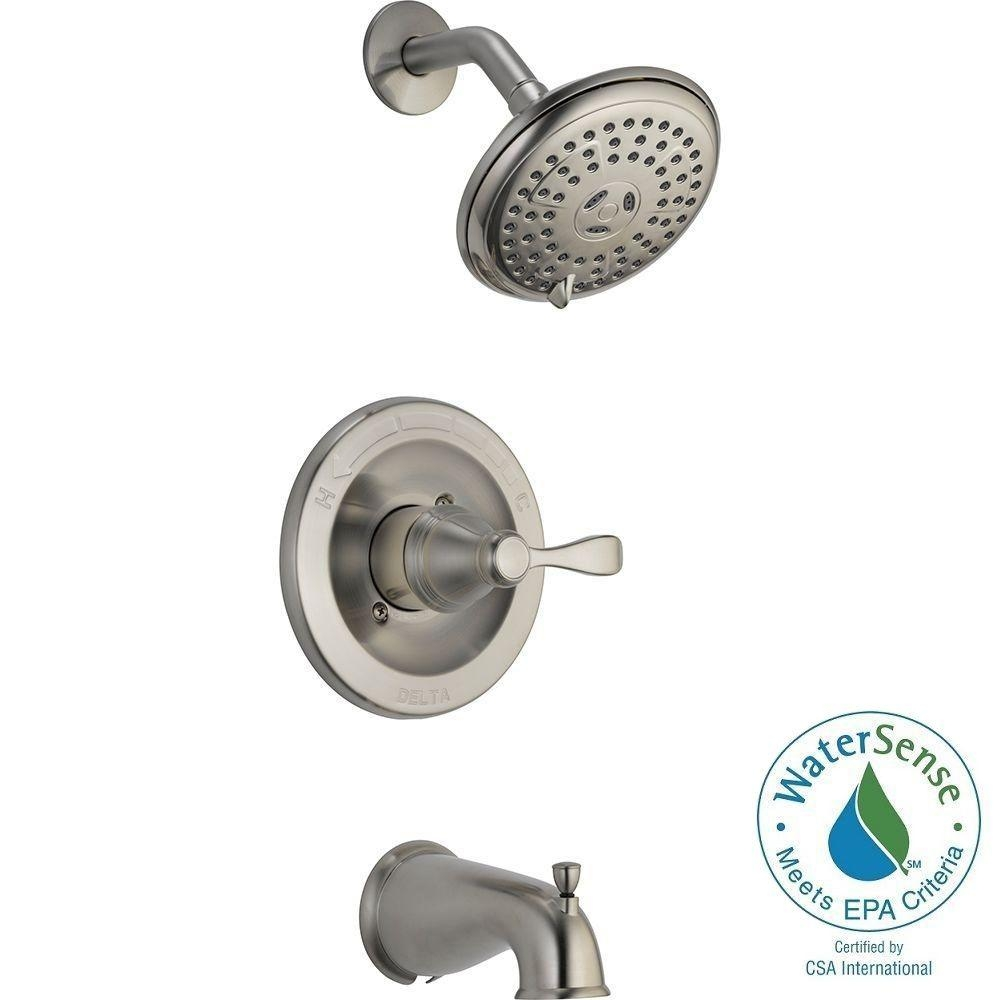 brushed nickel tub and shower faucet set brushed nickel tub and shower faucet set delta porter single handle 3 spray tub and shower faucet in 1000 x 1000