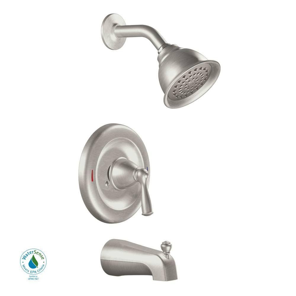 Ideas, brushed nickel tub and shower faucet set brushed nickel tub and shower faucet set moen banbury single handle 1 spray tub and shower faucet with 1000 x 1000  .