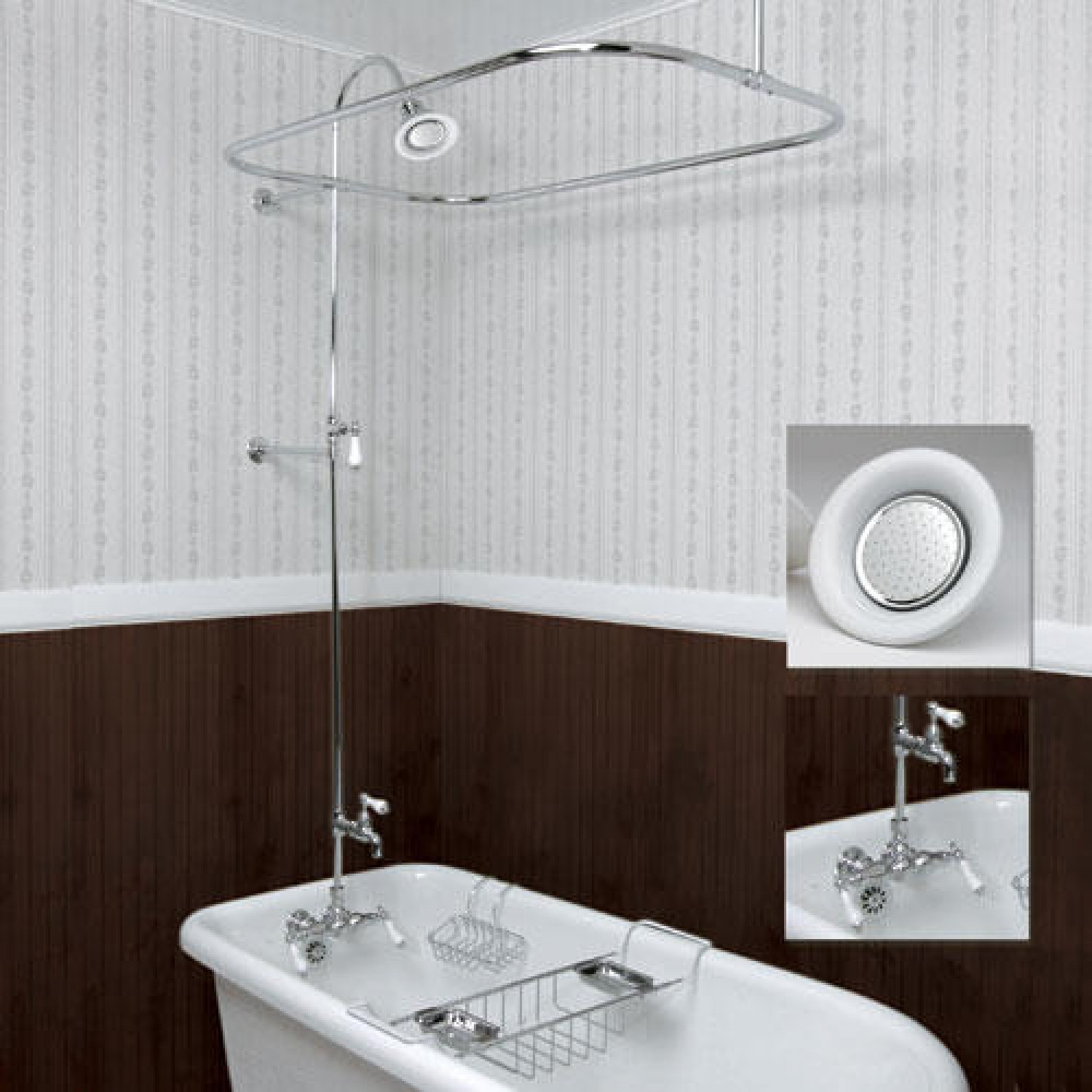 Clawfoot Tub Shower Enclosure With Faucet Showerhead And
