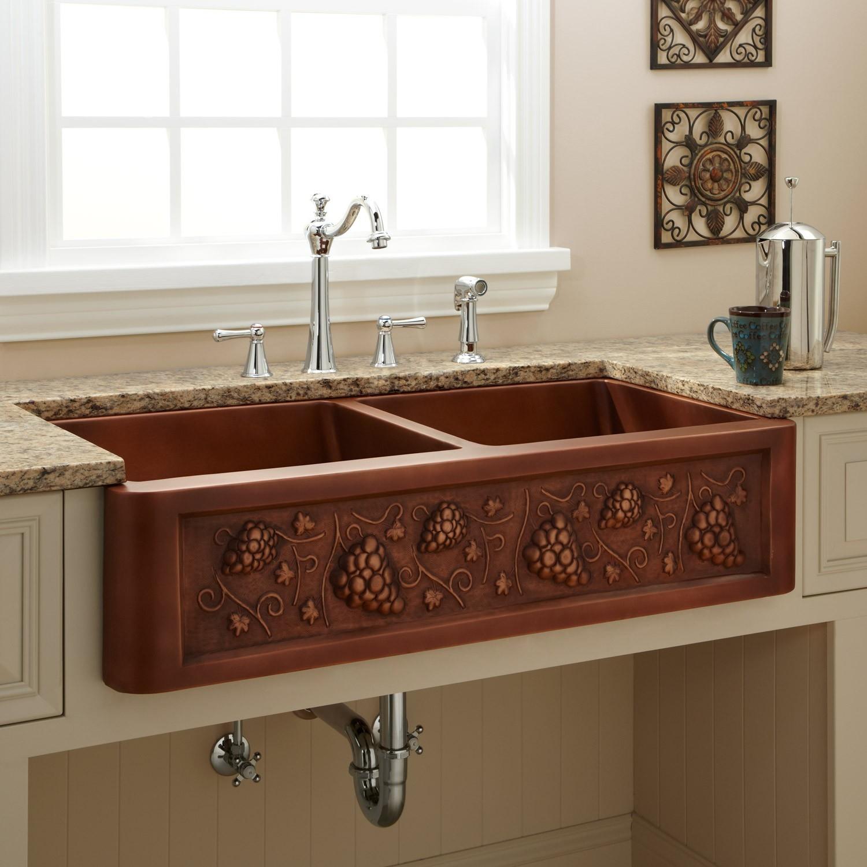 Ideas, copper farmhouse sink with faucet holes copper farmhouse sink with faucet holes 39 tuscan double bowl copper farmhouse sink kitchen 1500 x 1500  .