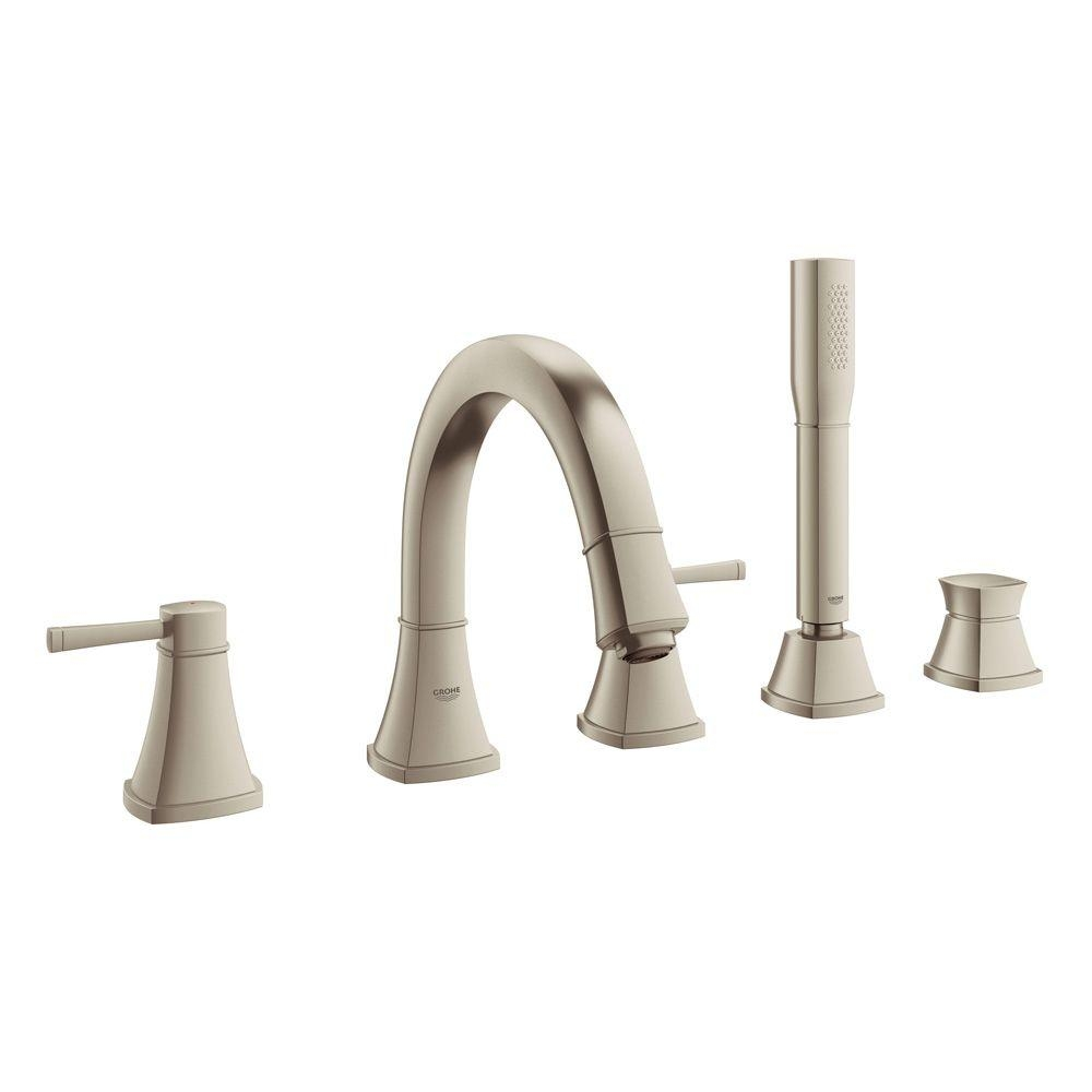 Ideas, deck mounted tub faucet with diverter deck mounted tub faucet with diverter grohe grandera 2 handle deck mount roman tub faucet with personal 1000 x 1000  .