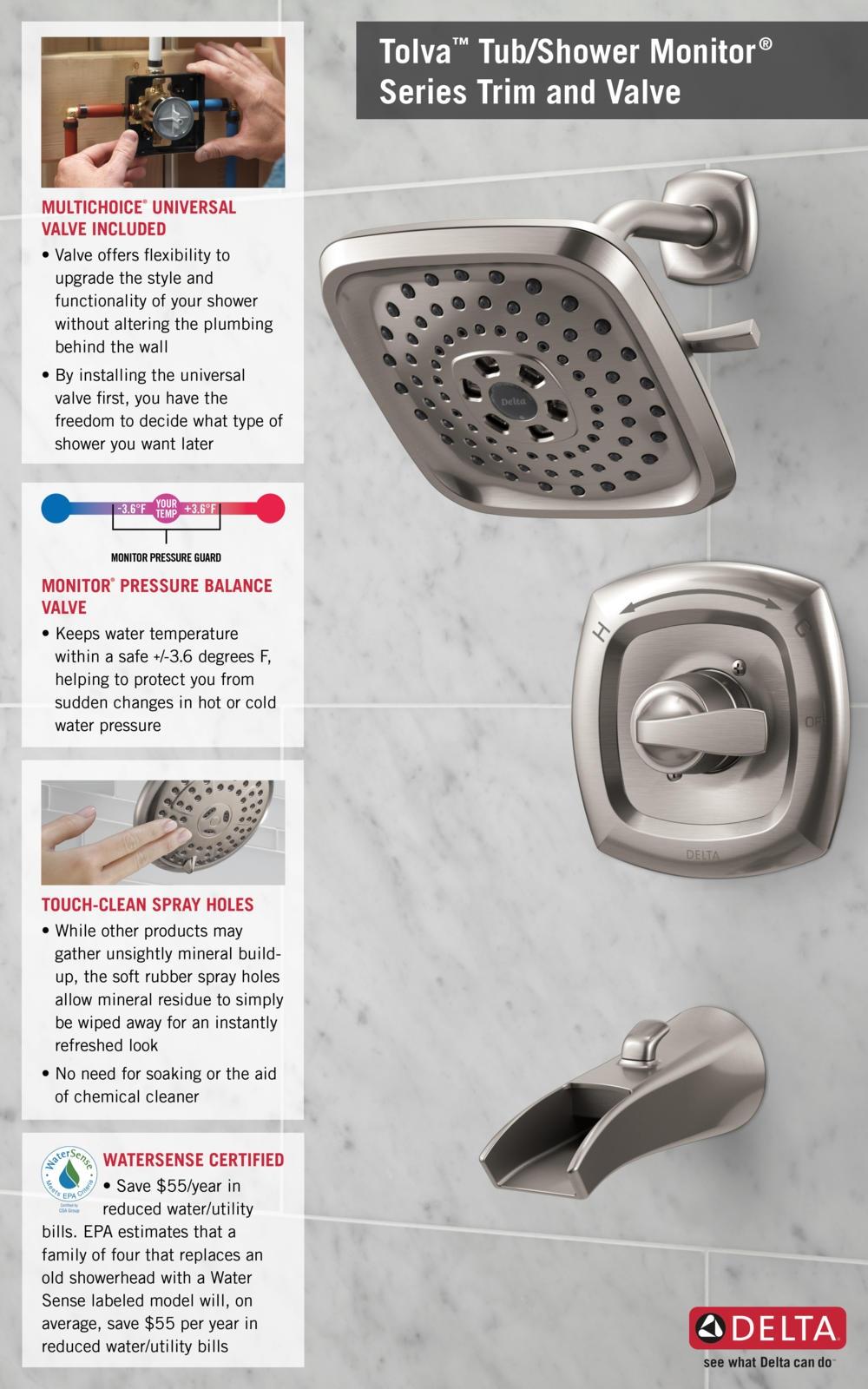 Ideas, delta anti scald faucet delta anti scald faucet delta tolva h2okinetic single handle 3 spray tub and shower faucet 1000 x 1600  .