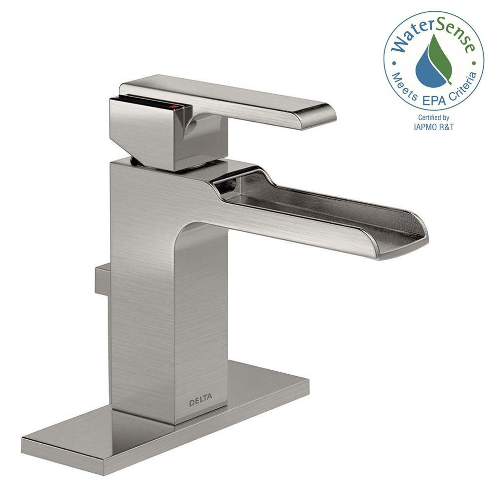 delta ara single hole single handle open channel spout bathroom within proportions 1000 x 1000