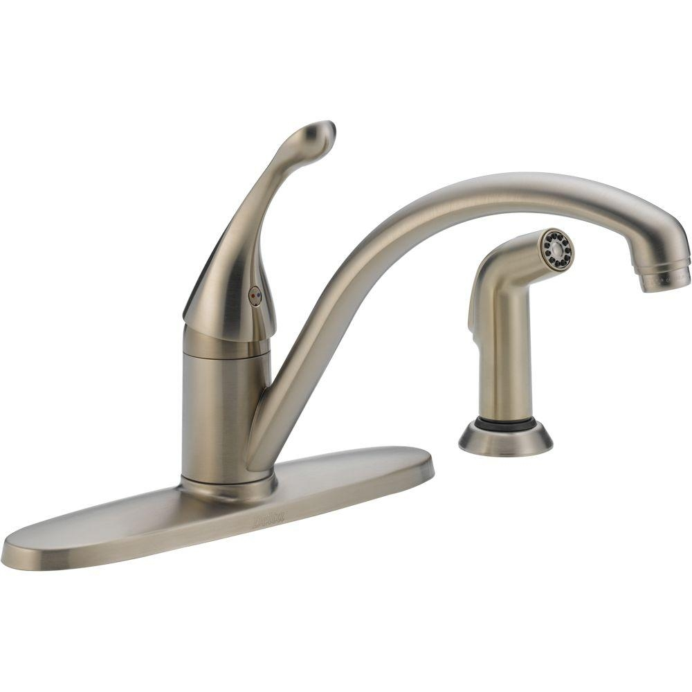 Ideas, delta brushed nickel kitchen faucets delta brushed nickel kitchen faucets delta collins single handle standard kitchen faucet with side 1000 x 1000  .