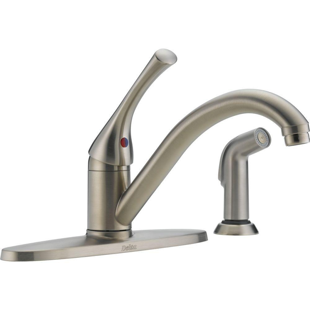 delta classic single handle standard kitchen faucet with side with measurements 1000 x 1000