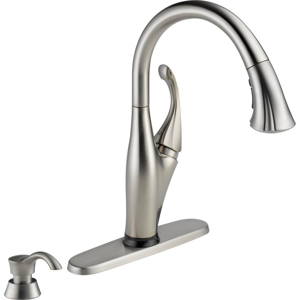 Ideas, delta izak single handle pull down sprayer kitchen faucet in regarding size 1000 x 1000  .
