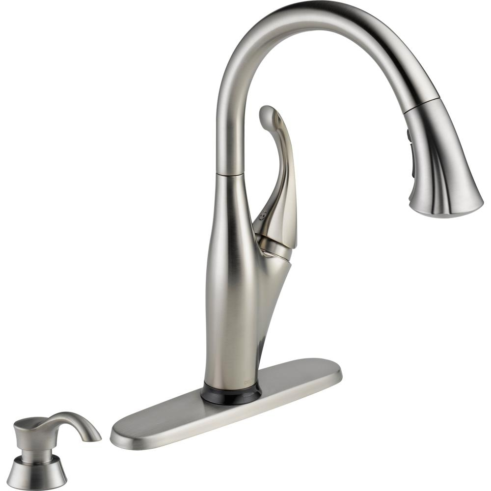 Ideas, delta izak single handle pull down sprayer kitchen faucet in throughout measurements 1000 x 1000  .