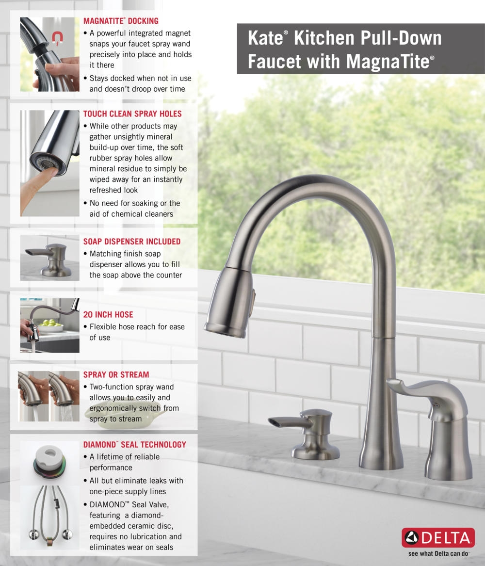 Ideas, delta kate kitchen faucet stainless delta kate kitchen faucet stainless delta kate single handle pull down sprayer kitchen faucet with 1000 x 1167  .