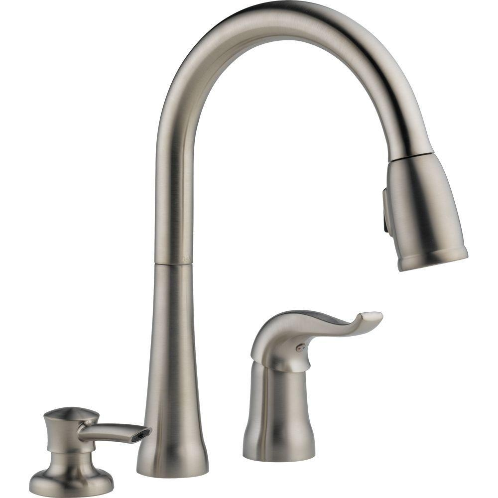 delta kate single handle pull down sprayer kitchen faucet with regarding measurements 1000 x 1000