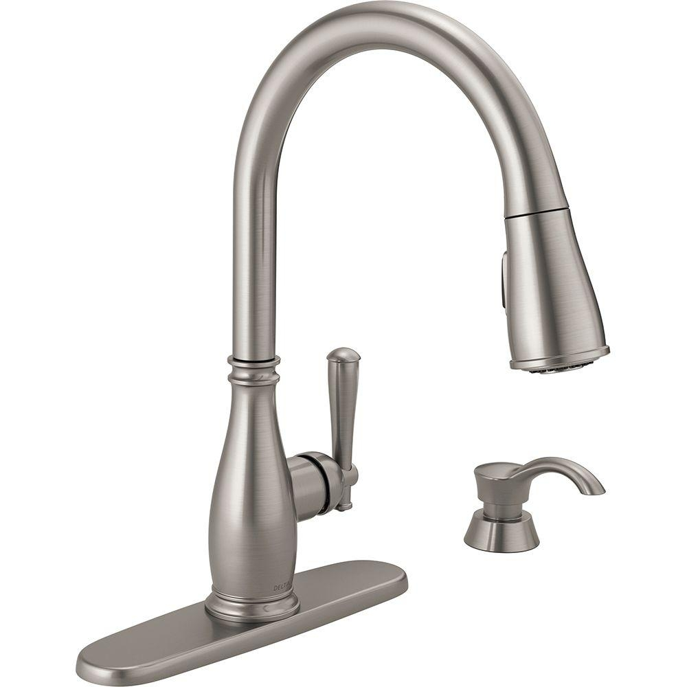 Ideas, delta kitchen faucets with soap dispenser delta kitchen faucets with soap dispenser delta charmaine single handle pull down sprayer kitchen faucet 1000 x 1000  .